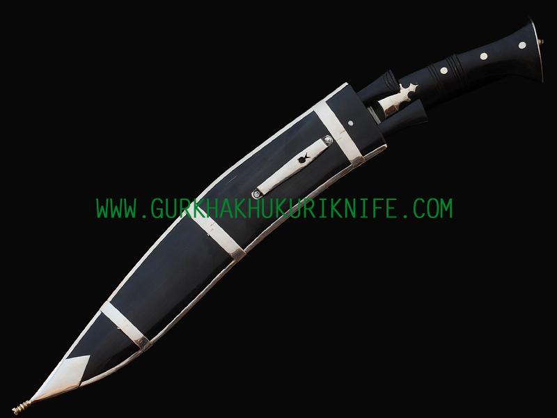 """12.5"""" Dhankute Khukuri Knife - Plain Black"""