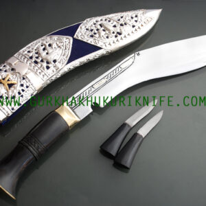"10"" Kothimora Silver Decorated Khukuri Knife – Blue Velvet"