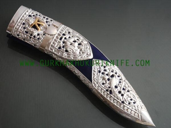 """10"""" Kothimora Silver Decorated Khukuri Knife – Blue Velvet"""