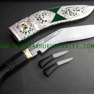 "10"" Kothimora Silver Decorated Khukuri Knife - Green"