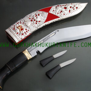 "10"" Kothimora Silver Decorated Khukuri Knife - Red"
