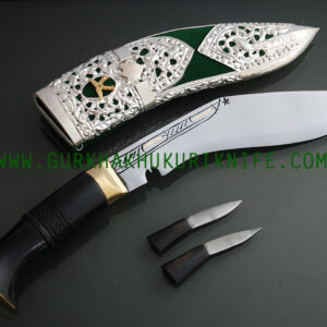 "8"" Kothimora Silver Decorated Khukuri Knife-Green Velvet"