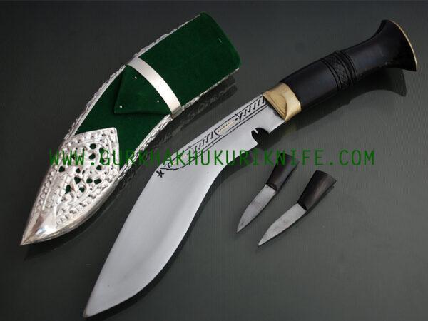 """8"""" Kothimora Silver Decorated Khukuri Knife-Green Velvet"""