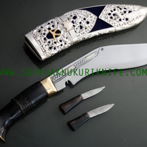 "8"" Kothimora Silver Decorated Khukuri Knife-BlueVelvet"